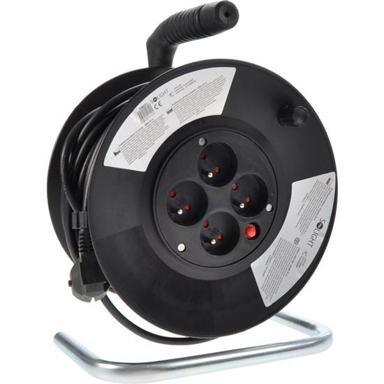 Prodlužovací kabel na bubnu - 4 zásuvky 25m SOLIGHT PB01