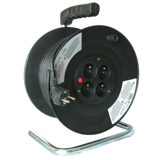 Prodlužovací kabel na bubnu - 4 zásuvky 50m SOLIGHT PB02