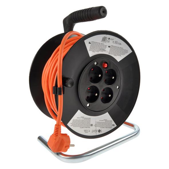 Prodlužovací kabel na bubnu - 4 zásuvky 25m SOLIGHT PB03
