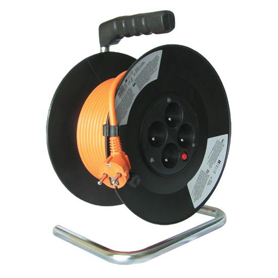 Prodlužovací kabel na bubnu - 4 zásuvky 50m SOLIGHT PB04