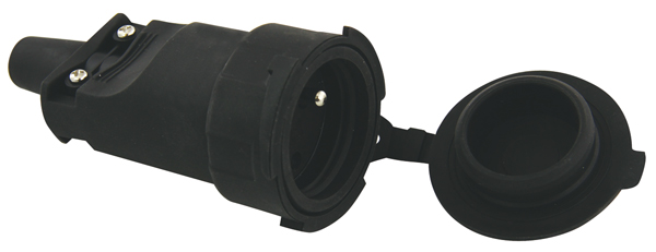 Zásuvka gumová černá IP65