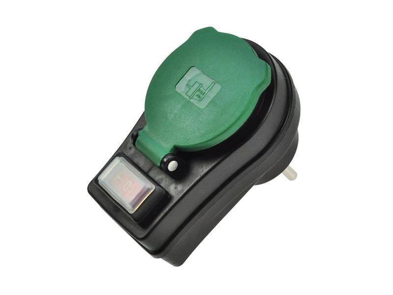 Zásuvka průběžná IP44, 16A, černá, vypínač, kryt zásuvky P98