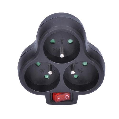 Zásuvka rozbočovací, 3x 10A, černá, vypínač