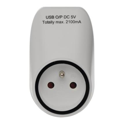 Zásuvka průběžná s 2x USB EMOS P0071