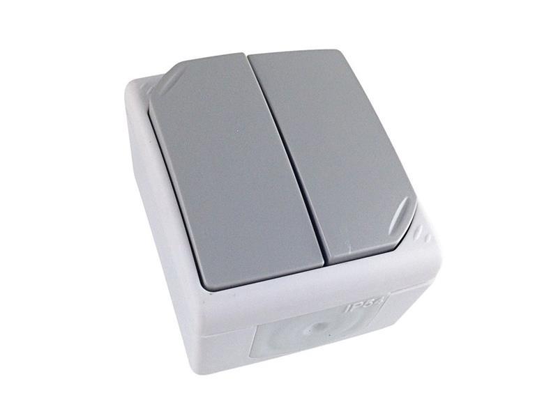 Vypínač do vlhka IP54, č. 5 sériový - lustrový, šedý 5B302 SOLIGHT