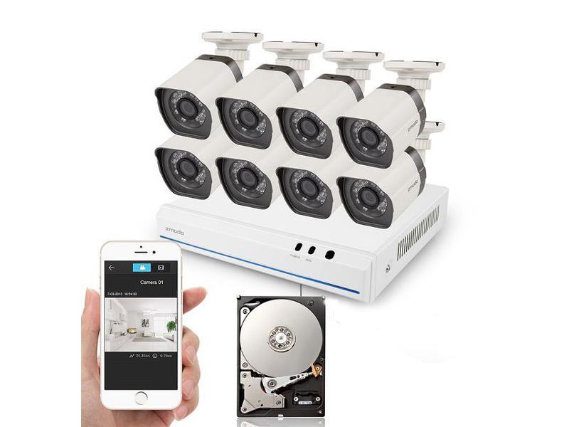 Kamera set ZMODO 720P sPoE 8CH NVR + 8x IP CAM + 1TB HDD digitální UMNP10063