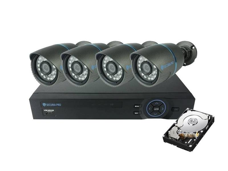 Kamera set SECURIA PRO A4CHV1/1TB 800 TVL 4CH DVR + 4x IR CAM + 1TB HDD analog