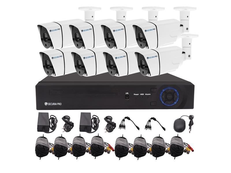 Kamerový systém SECURIA PRO AHD8CHV2-W 1080P 8CH DVR + 8x IR CAM 2MP 1080P analog
