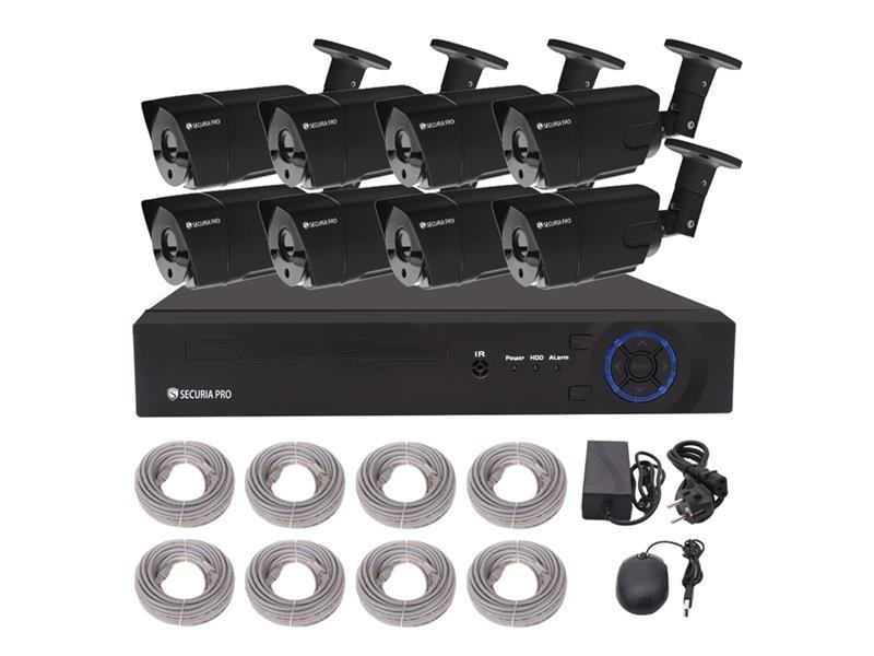 Kamerový systém SECURIA PRO NVR8CHV1-B 720P 8CH DVR + 8x IR CAM 1MP 720P digitální