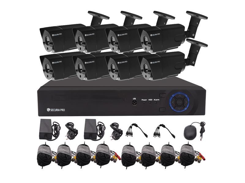 Kamerový systém SECURIA PRO AHD8CHV2-B 1080P 8CH DVR + 8x IR CAM 2MP 1080P analog