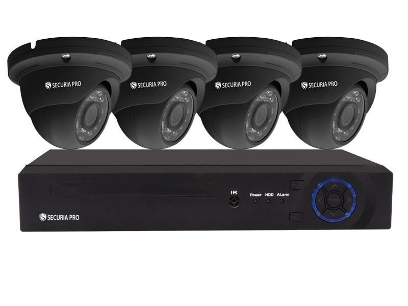 Kamerový systém SECURIA PRO NVR4CHV2-B 1080P 4CH DVR + 4x IR DOME CAM 2MP 1080P digitální