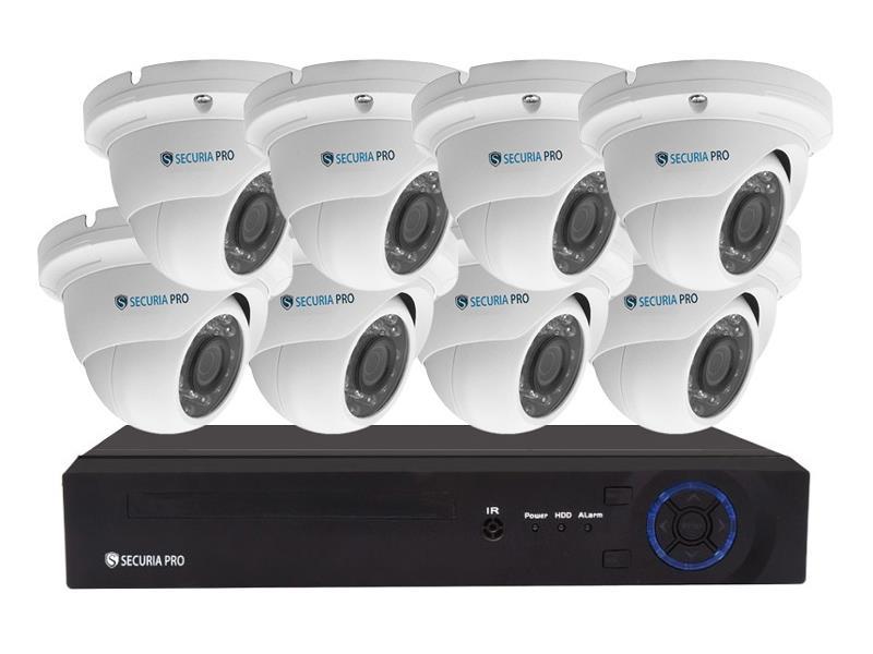 Kamerový systém SECURIA PRO NVR8CHV2-W 1080P 8CH DVR + 8x IR DOME CAM 2MP 1080P digitální
