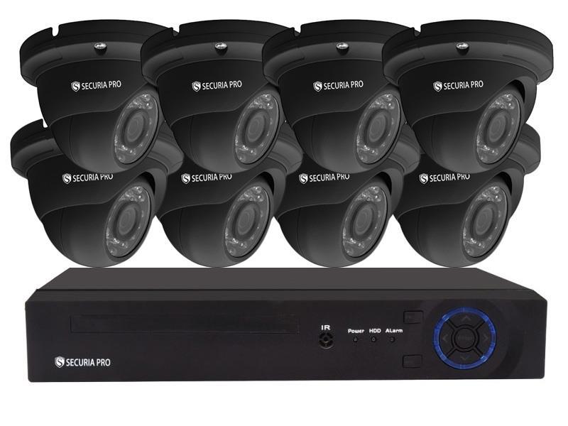Kamerový systém SECURIA PRO NVR8CHV2-B DOME 1080P 8CH DVR + 8x IR CAM 2MP 1080P analog