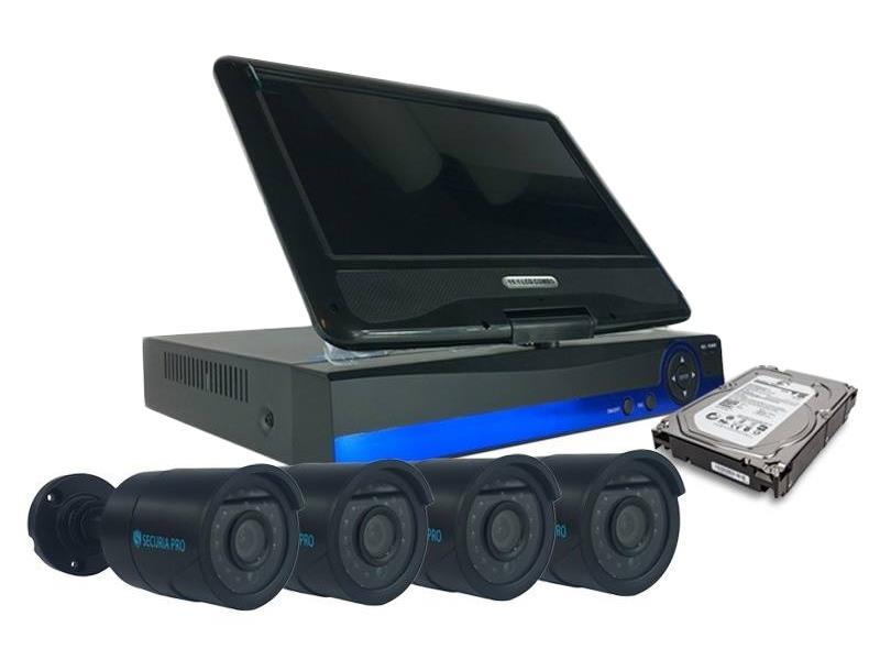 Kamera set SECURIA PRO LCD-AHD4CHV1/1TB 720P 4CH DVR + 4x IR CAM analog + 1TB HDD analog