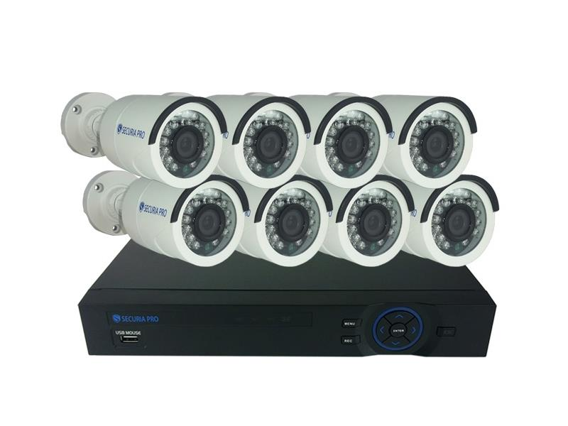 Kamera set SECURIA PRO AHD8CHV1-W 720P 8CH DVR + 8x IR CAM analog