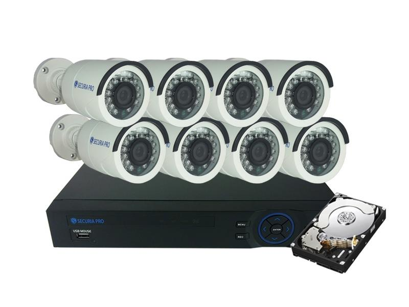 Kamera set SECURIA PRO AHD8CHV1/1TB-W 720P 8CH DVR + 8x IR CAM + 1TB HDD analog