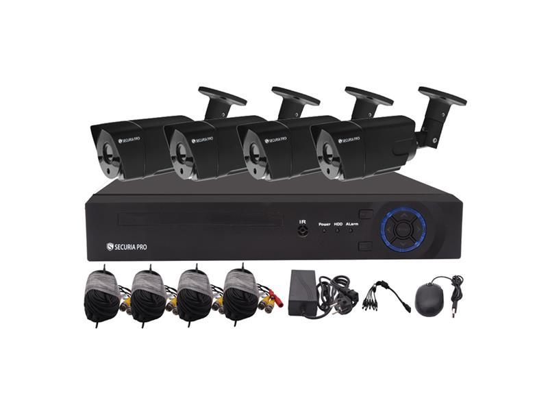 Kamerový systém SECURIA PRO AHD4CHV1-B 720P 4CH DVR + 4x IR CAM 1MP 720P analog