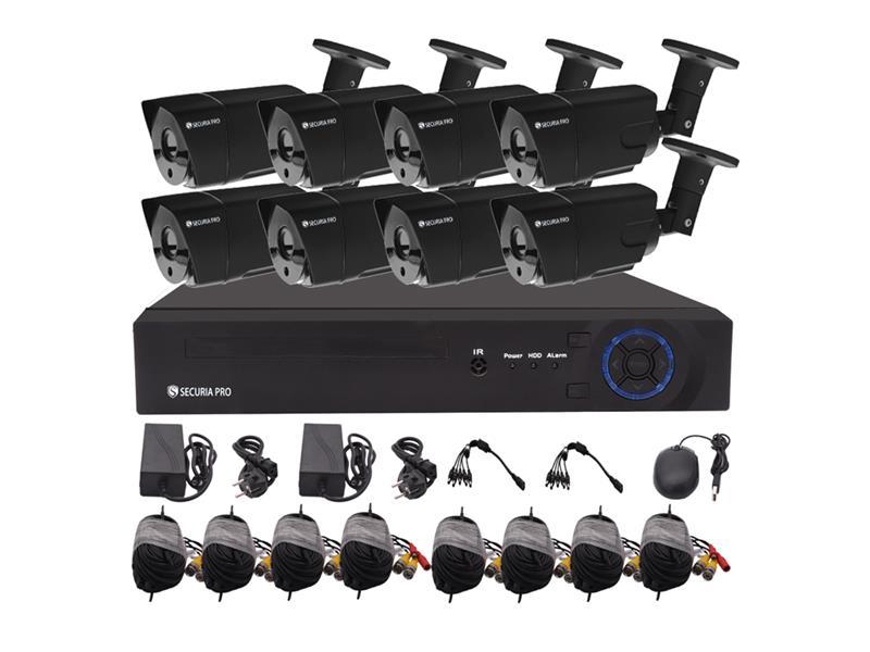 Kamerový systém SECURIA PRO AHD8CHV1-B 720P 8CH DVR + 8x IR CAM 1MP 720P analog