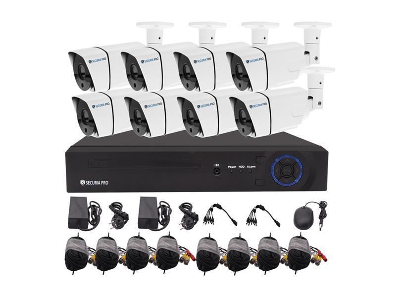 Kamerový systém SECURIA PRO AHD8CHV1-W 720P 8CH DVR + 8x IR CAM 1MP 720P analog