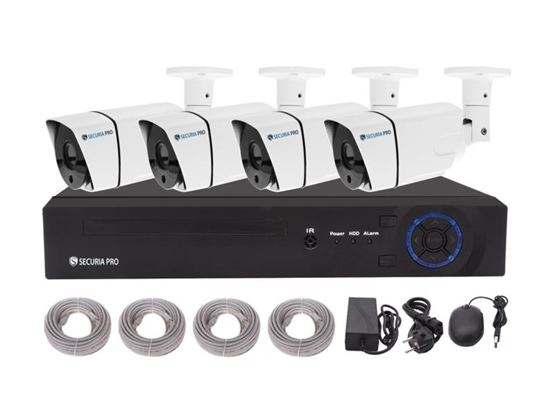 Kamerový systém SECURIA PRO NVR4CHV2-W 1080P 4CH DVR + 4x IR CAM 2MP 1080P digitální