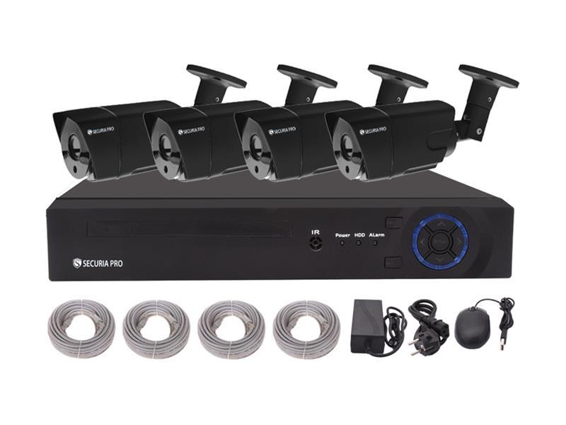 Kamerový systém SECURIA PRO NVR4CHV2-B 1080P 4CH DVR + 4x CAM IR 2MP 1080P digitální