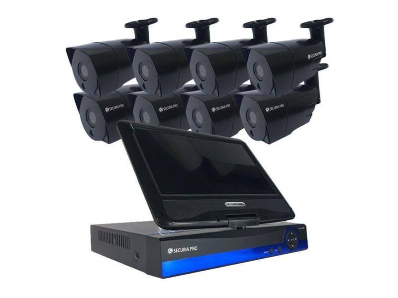 Kamerový systém SECURIA PRO AHD8CHV1-B 720P 8CH DVR + 8x IR CAM 1MP 720P + LCD analog