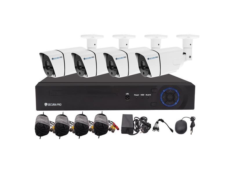 Kamerový systém SECURIA PRO AHD4CHV2-W 1080P 4CH DVR + 4x IR CAM 2MP 1080P analog