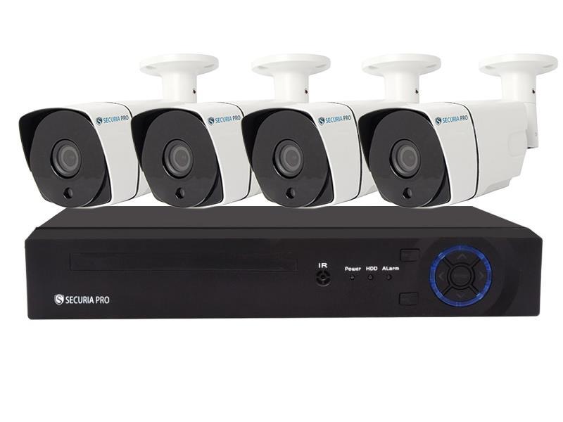 Kamerový systém SECURIA PRO NVR4CHV4-W 1080P 4CH DVR + 4x IR CAM 4MP 1440P digitální