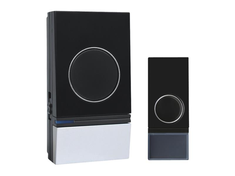 Solight bezdrátový zvonek 200m, plug-in, černý, learning code, vodě odolný, 1L29