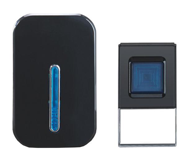 Solight 1L35b bezdrátový zvonek, do zásuvky, 100m, černý; 1L35b