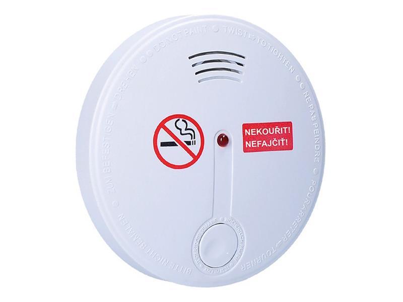Detektor cigaretového kouře + alarm, 85dB, bílý + 9v baterie