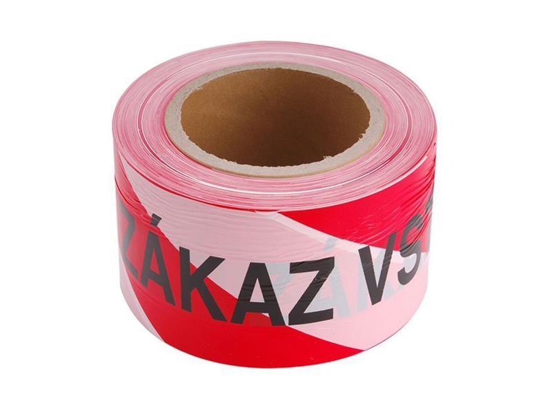 Páska výstražná červeno-bílá ZÁKAZ VSTUPU 75mm x 250m