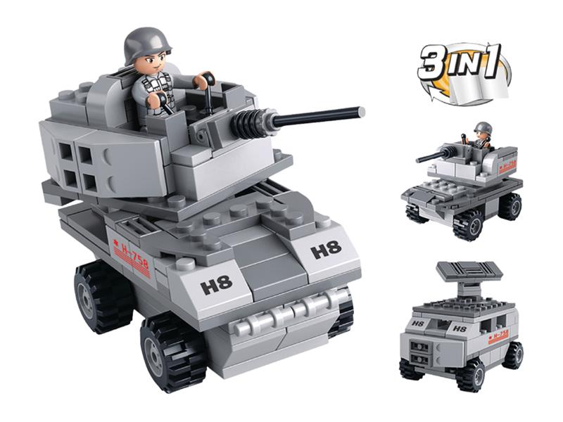 Stavebnice SLUBAN ARMY OBRNĚNÉ VOZIDLO 3v1 M38-B0537B