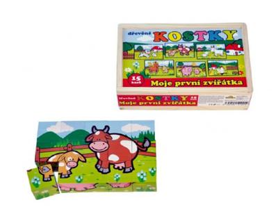 Dětské kostky TEDDIES Moje první zvířátka dřevěné 15ks