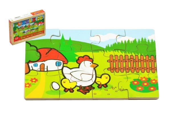 Puzzle MOJE PRVNÍ ZVÍŘÁTKA dřevěné 12 dílků