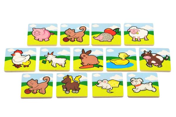 Dětské pexeso TEDDIES Moje první zvířátka dřevěné 24ks