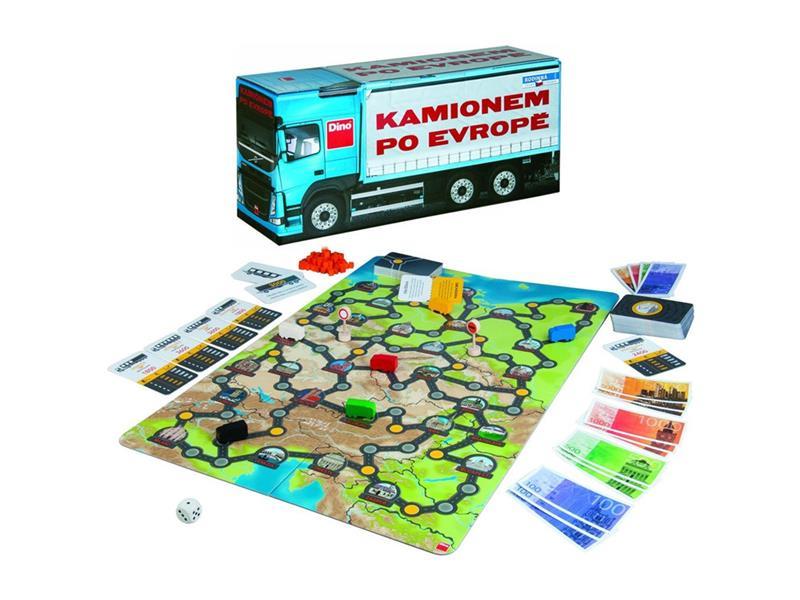 Hra stolní DINO KAMIONEM PO EVROPĚ dětská