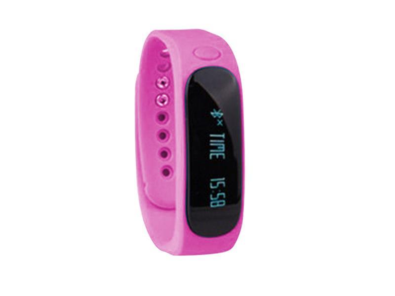 Fitness náramek FT02, OLED, Bluetooth 4.0, Android+iOS růžová