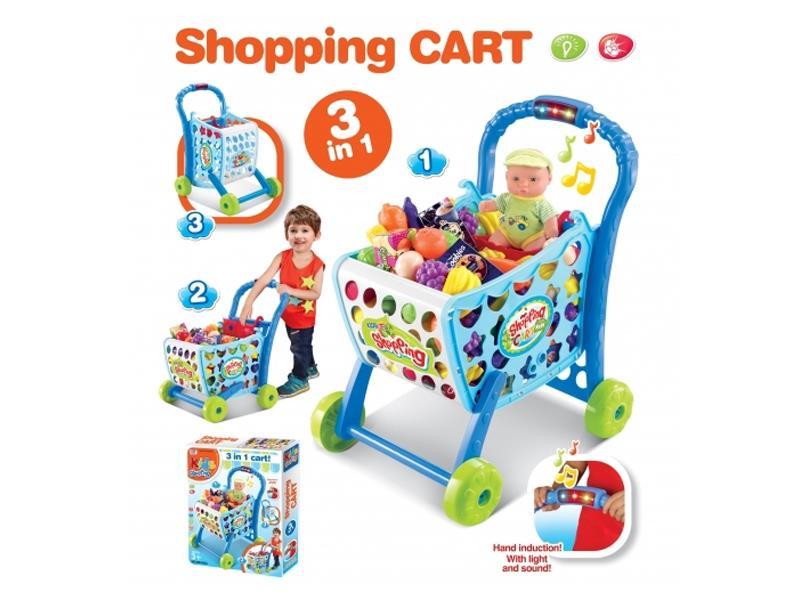 Dětský nákupní košík G21 s příslušenstvím BLUE