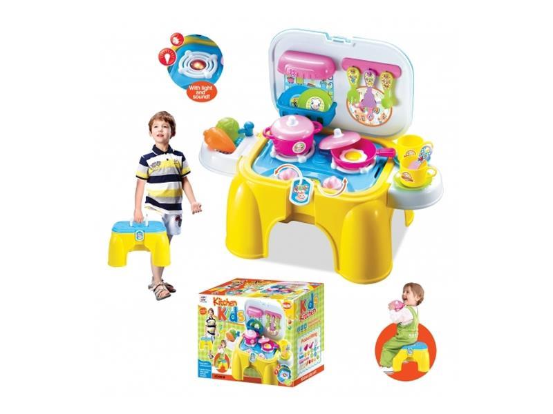 Kuchyňka dětská G21 s příslušenstvím a sedátkem