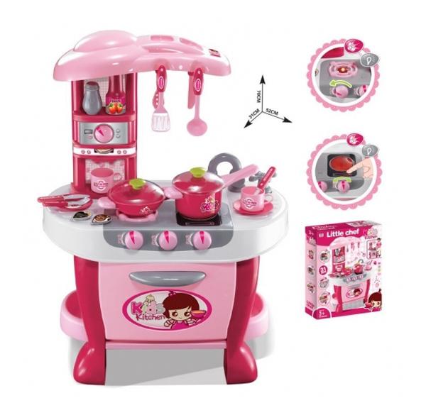 Kuchyňka dětská G21 malá s příslušenstvím růžová