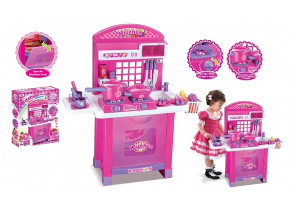 Dětská kuchyňka G21 SUPERIOR s příslušenstvím PINK