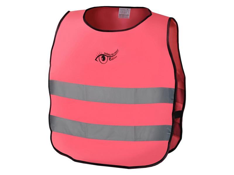Reflexní výstražná vesta dětská růžová S.O.R. EN 1150:1999
