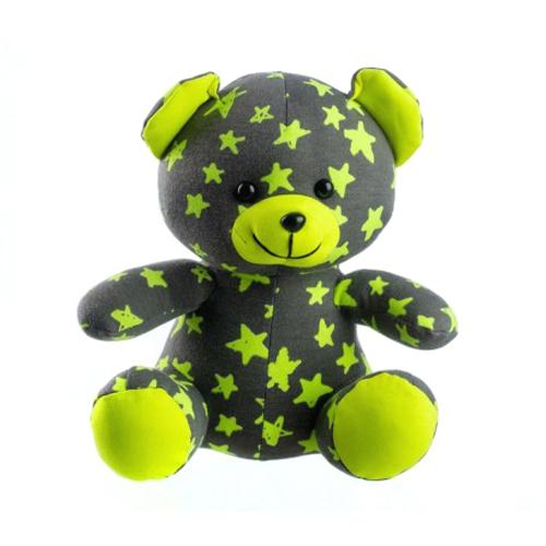 Medvídek plyšový TEDDIES svítící ve tmě šedý / žlutý