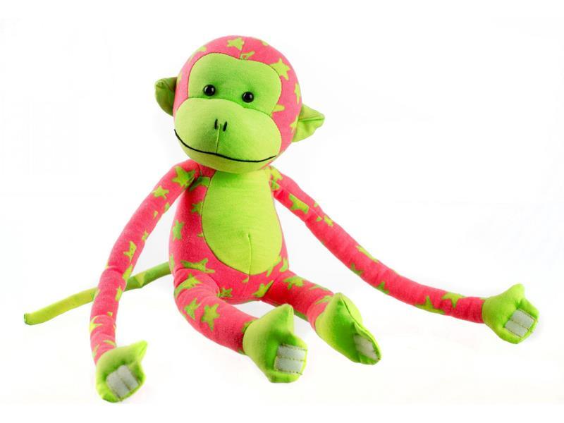 Dětská plyšová opička TEDDIES 45 cm svítící ve tmě zelená