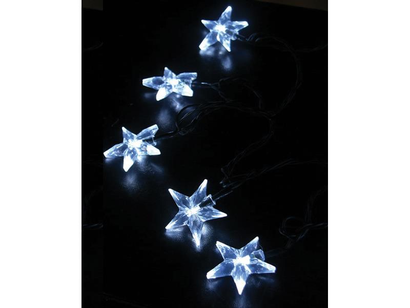 Solight Vánoční řetěz LED hvězdy, bílá, 1V30-W