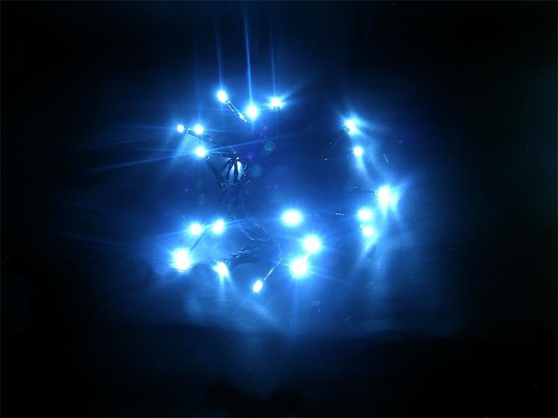 Solight LED vánoční řetěz 3m, 20xLED, 3x AA, modré světlo, zelený kabel 1V50-B