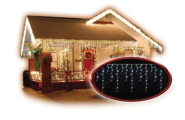 LED venkovní závěs, rampouchy, 120LED, 3m x 0,7m, přívod 6m, IP44, bílé světlo