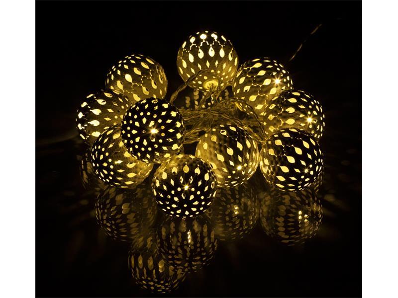 Řetěz vánoční  kovové koule 10 LED 1,5m 2xAA Metal Balls WW RETLUX RXL 50 bílé