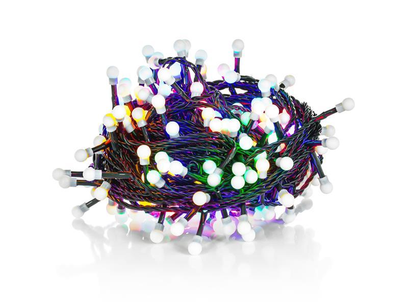 Řetěz vánoční 100 LED 10m multicolour, IP44, cherry, RETLUX RXL121
